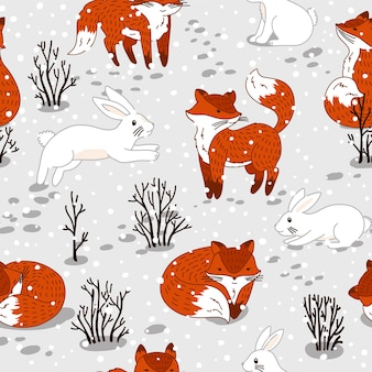Seamless pattern with cute foxes and bunny. winter