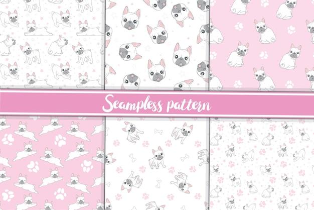 ピンクの背景にかわいいフレンチブルドッグとシームレスなパターン