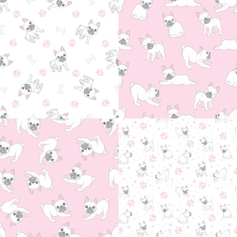 Seamless pattern with cute french bulldog on pink background