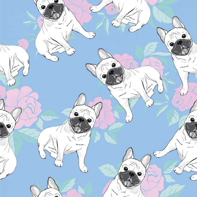 Seamless pattern with cute french bulldog