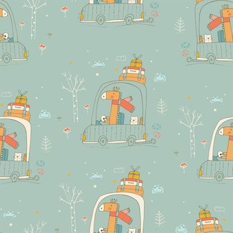 Seamless pattern with cute friends giraffe and catbaby animals traveling in the carhand drawn