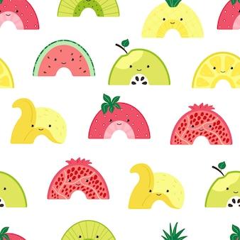 かわいいフルーツレインボーとのシームレスなパターン。カラフルな果物の文字で背景。壁紙、ファブリック、テキスタイル、包装紙のデザインの夏の果物のスライスのイラスト。ベクター