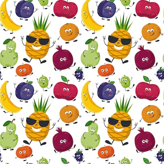 Seamless pattern with cute fruits