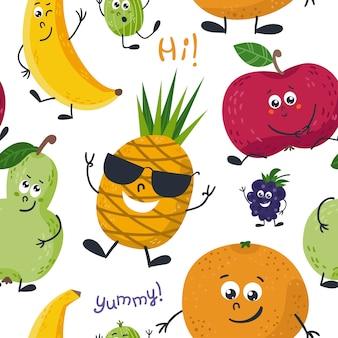 Бесшовные с милыми фруктами