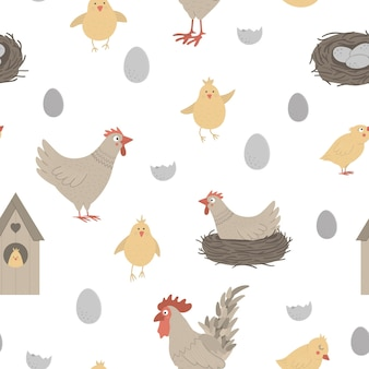 재미있는 암 탉, 닭, 작은 병아리, 계란, 둥지와 함께 완벽 한 패턴입니다. 봄 또는 부활절 재미있는 반복 배경. 기독교 휴일 요소가있는 디지털 종이