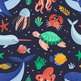 Seamless pattern with cute funny marine animals or happy underwater creatures living in sea.