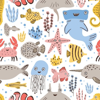 Seamless pattern with cute funny marine animals