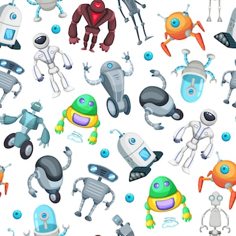 Seamless pattern with cute funny robots. vector pictures in cartoon style. robot cartoon seamless pattern illustration