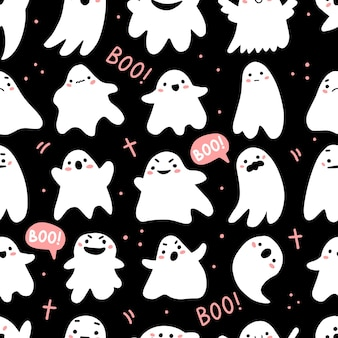 Seamless pattern with cute ghosts and lettering in cute cartoon doodle style on a black background
