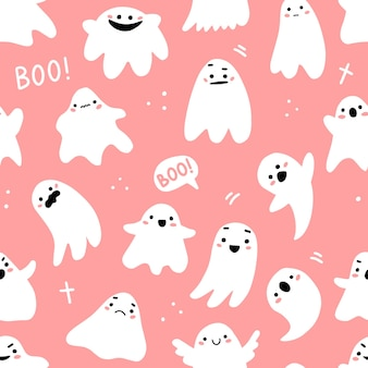 Seamless pattern with cute ghosts and lettering in cute cartoon doodle style on a pink background