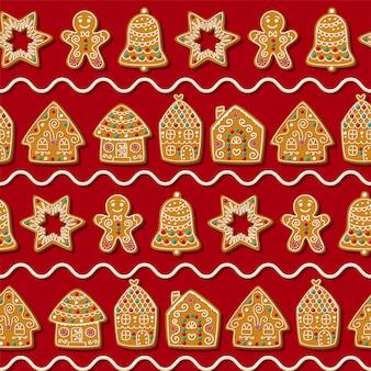 かわいいジンジャーブレッドマン、スター、家とのシームレスなパターン。赤い背景の上のクリスマスクッキー。図