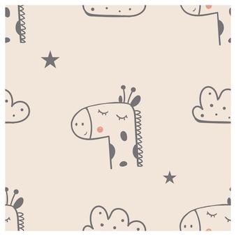 かわいいキリンの鳥と雲とのシームレスなパターン手描きのベクトル図