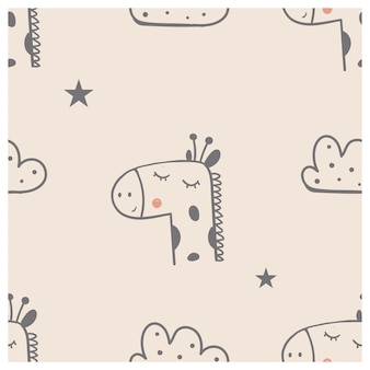 Seamless pattern with cute giraffe bird and clouds hand drawn vector illustration