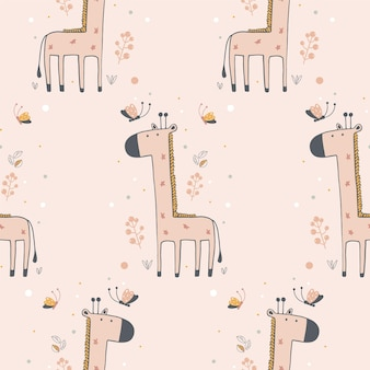 Seamless pattern with cute giraffe and butterflies hand drawn vector illustration