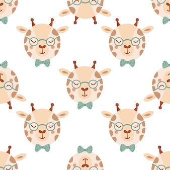 Seamless pattern with cute giraffe in glasses and bow tie. background with wild animals in flat style. illustration for kids. design for wallpaper, fabric, textiles, wrapping paper. vector