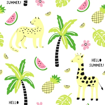 Seamless pattern with cute giraffe and leopard