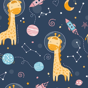 Seamless pattern with cute giraffe in space