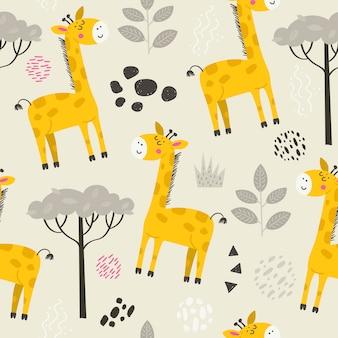 귀여운 기린과 완벽 한 패턴