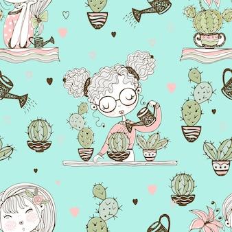 Бесшовный фон с милыми девушками, которые выращивают кактусы. вектор.