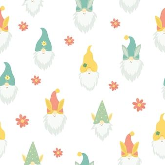 Seamless pattern with cute gnome heads