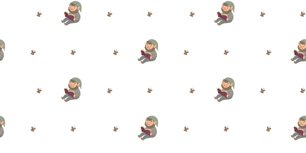 Seamless pattern with cute gnome illustration for children.