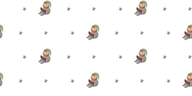 Бесшовный фон с милой иллюстрацией гнома для детей.