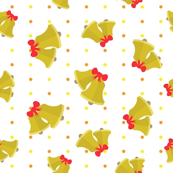 Seamless pattern with cute golden bell on polka dot background