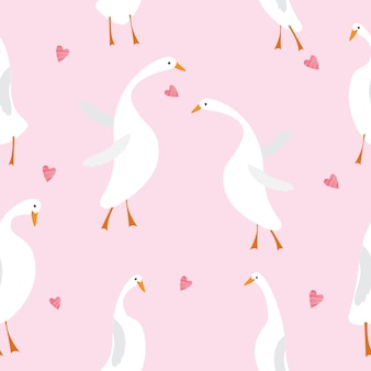 Seamless pattern with cute goose in love vector