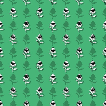 Seamless pattern with cute graphic flowers.