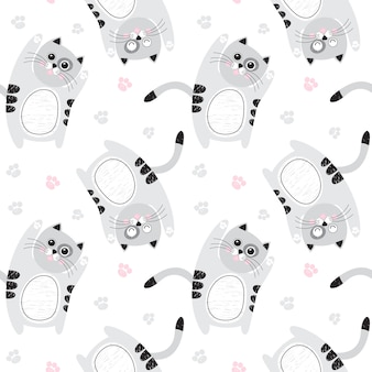 Seamless pattern with cute gray cats