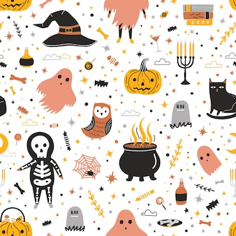 Seamless pattern with cute halloween creatures and items on white