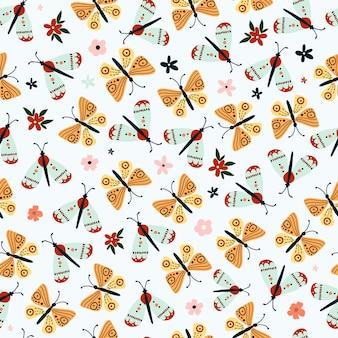 귀여운 손으로 그린 나비와 함께 완벽 한 패턴입니다.