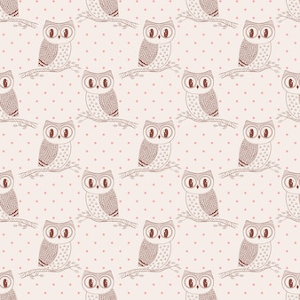 Seamless pattern with cute hand drawn owls and polka dot. vector background in pastel colors.
