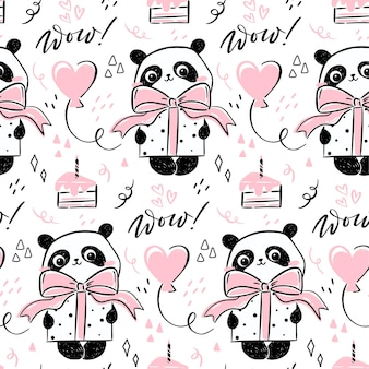 Seamless pattern with cute hand-drawn panda character holding a present with a bow