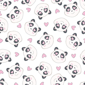 Seamless pattern with cute hand drawn panda' heads. animal tiling background.