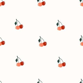 귀여운 손으로 그린 빨간 체리와 함께 완벽 한 패턴입니다. 패브릭, 포장, 어린이 티셔츠 디자인을 위한 아늑한 휘게 스칸디나비아 스타일 템플릿입니다. 평면 만화 스타일의 벡터 일러스트 레이 션