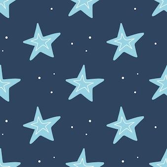 暗い背景にかわいい手描きの星とのシームレスなパターン。ベクトルイラスト。