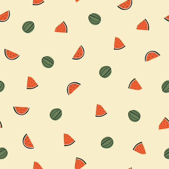 Seamless pattern with cute hand drawn watermelon. cozy hygge scandinavian style template for fabric, packaging, kids t shirt design. vector illustration in flat cartoon style