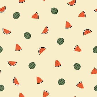 귀여운 손으로 그린 수박과 함께 매끄러운 패턴입니다. 패브릭, 포장, 어린이 티셔츠 디자인을 위한 아늑한 휘게 스칸디나비아 스타일 템플릿입니다. 평면 만화 스타일의 벡터 일러스트 레이 션