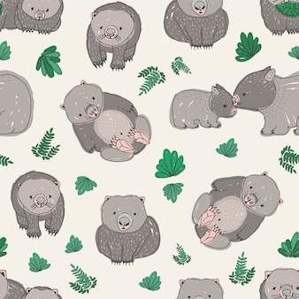 Seamless pattern with cute hand drawn wombats and green leaves.