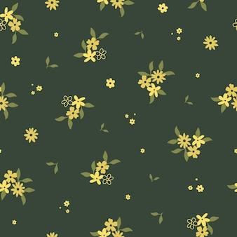 かわいい手描きの黄色い花と葉とのシームレスなパターン。生地、パッケージ、キッズtシャツのデザインのための居心地の良いヒュッゲスカンジナビアスタイルのテンプレート。フラット漫画スタイルのベクトル図