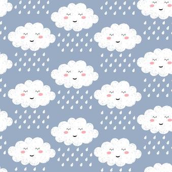 Seamless pattern with cute happy cartoon kawaii cloud