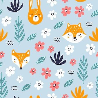 귀여운 토끼, 여우, 너구리와 함께 완벽 한 패턴입니다.