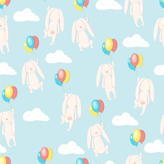 Seamless pattern with cute hare or rabbit flying in the sky on balloons