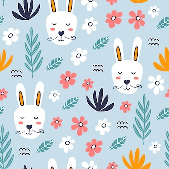 Seamless pattern with cute hare.