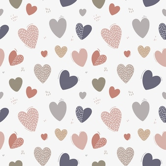 Seamless pattern with cute hearts