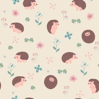 かわいいハリネズミと花とのシームレスなパターン。ベクトルグラフィックス。