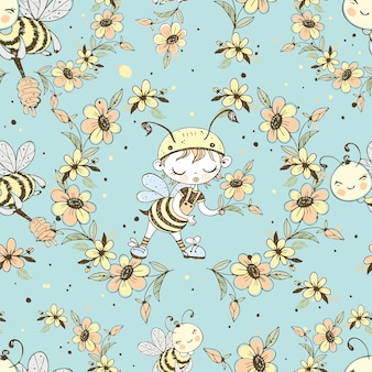 かわいいミツバチとのシームレスなパターン。 Premiumベクター