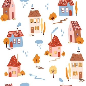Бесшовный фон с милыми домами. осенние деревья, дороги, дома с трубами и дождевые облака. модная современная текстура для ткани, обоев, текстиля, одежды. довольно фон для детской коллекции. вектор