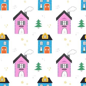 かわいい家とのシームレスなパターン。ベクトルイラスト。